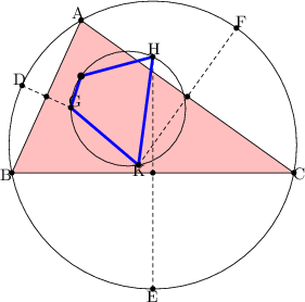 "\begin{tikzpicture}[line cap=round,line join=round,>=triangle 45,x=0.5cm,y=0.5cm]  \clip(-4,-11) rectangle (19.3,6.3);  \fill[color=green,fill=pink,fill opacity=0.1] (6.7,2.94) -- (4,-3) -- (15,-3) -- cycle;  \draw <span style=""color:blue""> (6.7,2.94)-- (4,-3);  \draw <span style=""color:red""> (4,-3)-- (15,-3);  \draw <span style=""color:green""> (15,-3)-- (6.7,2.94);  \draw(9.5,-1.92) circle (2.805cm);  \draw [dash pattern=on 2pt off 2pt] (8.94,-2.7)-- (12.76,2.64);  \draw [dash pattern=on 2pt off 2pt] (4.4,0.4)-- (6.3,-0.46);  \draw [dash pattern=on 2pt off 2pt] (9.5,-7.52)-- (9.5,1.52);  \draw [line width=1.5pt,color=blue] (6.3,-0.46)-- (6.7,0.77);  \draw [line width=1.5pt,color=blue] (6.7,0.77)-- (9.5,1.52);  \draw [line width=1.5pt,color=blue] (6.3,-0.46)-- (8.94,-2.7);  \draw [line width=1.5pt,color=blue] (8.94,-2.7)-- (9.5,1.52);  \draw <span style=""color:red""> (8.54,-0.5) circle (1.12cm);  \fill <span style=""color:black""> (6.7,2.94) circle (1.5pt);  \begin{footnotesize}  \draw<span style=""color:black""> (6.58,3.24) node {A};  \fill <span style=""color:black""> (4,-3) circle (1.5pt);  \draw<span style=""color:black""> (3.76,-3.06) node {B};  \fill <span style=""color:black""> (15,-3) circle (1.5pt);  \draw<span style=""color:black""> (15.22,-3.04) node {C};  \fill [color=black] (5.35,-0.03) circle (1.5pt);  \fill [color=black] (10.85,-0.03) circle (1.5pt);  \fill [color=black] (9.5,-3) circle (1.5pt);  \fill [color=black] (4.4,0.4) circle (1.5pt);  \draw[color=black] (4.28,0.64) node {D};  \fill [color=black] (9.5,-7.52) circle (1.5pt);  \draw[color=black] (9.48,-7.8) node {E};  \fill [color=black] (12.76,2.64) circle (1.5pt);  \draw[color=black] (12.92,2.9) node {F};  \fill [color=black] (6.3,-0.46) circle (1.5pt);  \draw[color=black] (6.48,-0.2) node {G};  \fill [color=black] (9.5,1.52) circle (1.5pt);  \draw[color=black] (9.56,1.84) node {H};  \fill [color=black] (8.94,-2.7) circle (1.5pt);  \draw[color=black] (8.94,-2.92) node {K};  \fill [color=black] (6.7,0.77) circle (2pt);  \end{footnotesize}  \end{tikzpicture}"